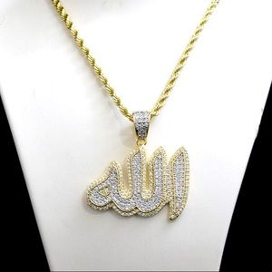 Other - 14k Gold Lab Diamond Iced Out Allah Charm Chain